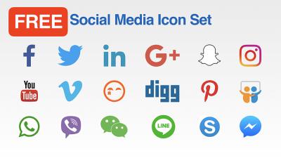Social Media Icon Set - Coloured