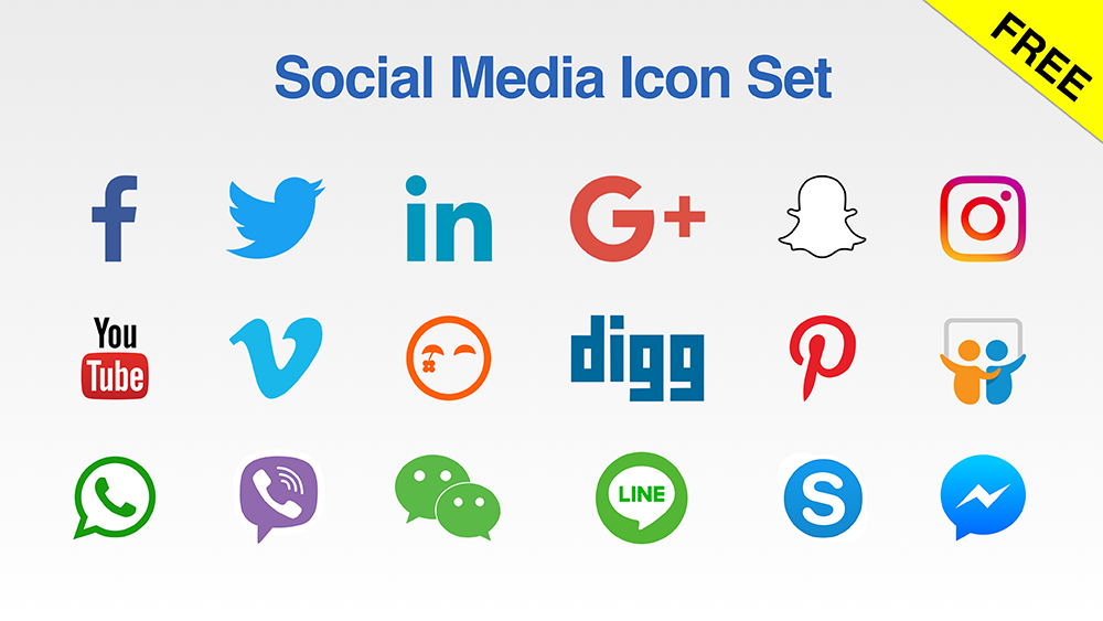 Free Social Media Icon Set For Your Presentations